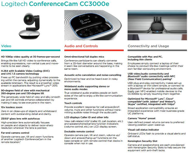 Specificaties Logitech Conference Webcam CC3000e